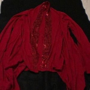 Red cardigan with sequins
